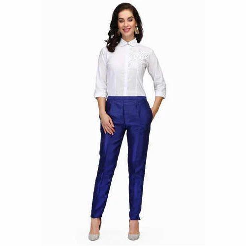 f9ae9184c0b96 Pret a Porter Royal Blue   White Ladies Shirt With Royal Blue Silk Trouser