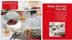 White Designer Glass Dinner Set, Packaging Type: Box