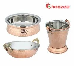 Choozee - Steel Copper Serving Items Set of 3 Pcs (Including Bucket, Kadhai and Handi) (800ML)