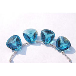 Concave Cut Trillion Shape Blue Gemstone, Trillion Cut Blue