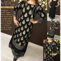 Black and Golden 3/4th Sleeve Party Wear Ladies Printed Cotton Kurti, Size: 40-46