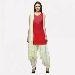 Ladies Red Kurti With Bottom And Dupatta