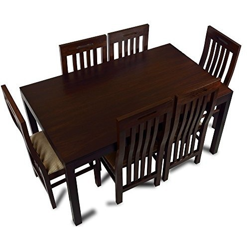 Dark Brown Wooden Dining Table Set Rs