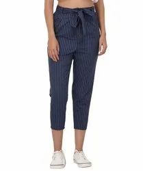 Cotton Casual Wear Blue And White Striped Belted Trouser