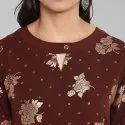 Brown Poly Crepe Kurta(JNE3289)