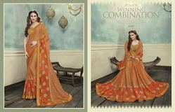 Beautiful Orange Color Printed Brasso Jacquard Saree