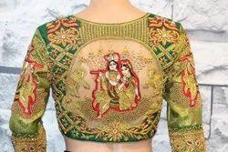 Green Silk Aari Embroidery Bridal Blouse With Radhakrishna
