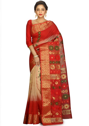 3d8c271ec5be8 Cream And Red Tussar Silk Cotton Woven Floral Style Saree at Rs 3540 ...