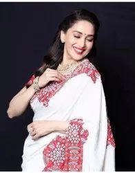 Silk Embroidered Designer Bollywood Madhuri Dixit Sarees, 5.5 m (separate blouse piece)
