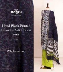 Printed Cotton Indigo Chnderi Unstitch Suits