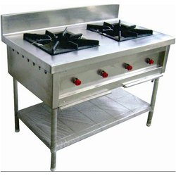 LPG Two Burner Cooking Range for indian and Chinese for commercial, For Hotel, Restaurant