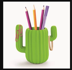 Green Ceramic Cactus Desktop Organizer, Box, 200 g