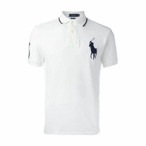 White Men S Polo Plain T Shirt Rs 210 Piece Blueberry Id