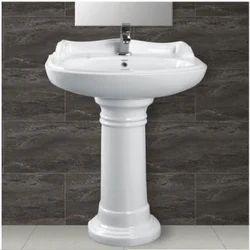 Ceramic Plain Designer Wash Basin Pedestal, Shape: Rectangular