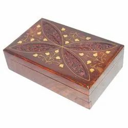 Plain Polished Sheesham Wood Brass Inlay Carving Jewellery Storage Box, For Event, Size/Dimension: 8*6*4