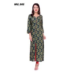 Dark Green Printed Ladies Kurti
