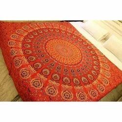 Orange Printed Mandala Tapestry