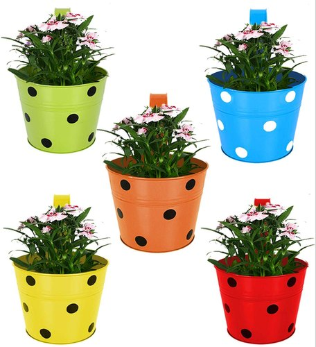 Iron Round Basket Single Pot Railing Planter (Multicolour, Pack of 5), For Decoration, Size: 6 X 7 X 6 Inch