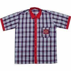 Summer Cotton Check School Uniform Shirt, Packaging Type: Packet