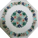 Dining Table White Marble Handmade Pietradura Top