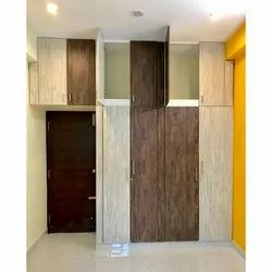 Brown And Ivory 4 Door Wooden Wardrobe, For Home, Size: 7 X 7