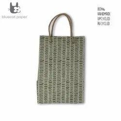 Linen Carry Bag (L) - beige waves print, jute rope handles