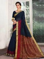 Navy Blue Cotton Silk Saree with Zari Border, 6.3 M