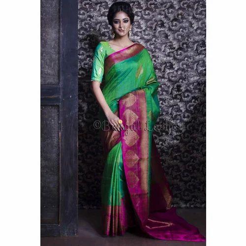 4e3eab634a Pure Handloom Tussar Silk Banarasi Saree in Green and Magenta at Rs ...