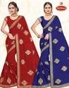 Dyed Georgette Embroidery work Saree with Lace - Shilp Kala