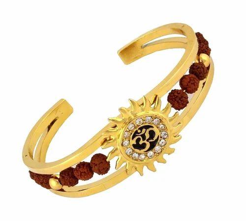 Valchand Jewellers Rudraksh American Diamond Gold Meena Om Sun Bracelet Men Size Free