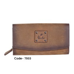 Brown Plain Leather clutch ladies wallet, Compartments: Many