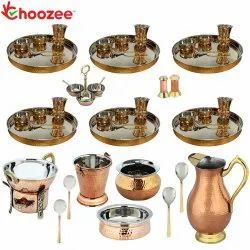 Choozee - Set of 6, Stainless Steel Copper Thali Set with Serveware, Copper Royal Jug and Matka Glas