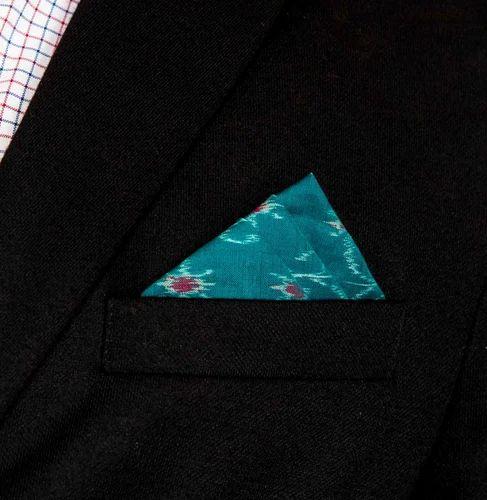 d0ccd40c7980 Teal Color Printed Men Suit Ikat Pocket Square, Rs 475 /piece | ID ...