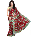 Gaji Silk Fancy Bandhani Saree with Separate Blouse Piece, Length: 5.5 m