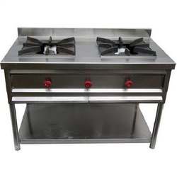 AGARWAL SS 2 Burner Gas Range, For Restaurent, Hotel, Number Of Knob: 3