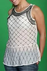 100% Georgette Sleeveless Georgette Hand Embroidered Top, Adult