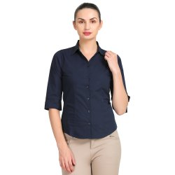 ZX3 Navy Blue Ladies Casual Formal Shirt, Size: M - 5XL