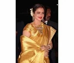 Plain Traditional Latest Uppada Golden Tissue Saree, 6 m (with blouse piece)