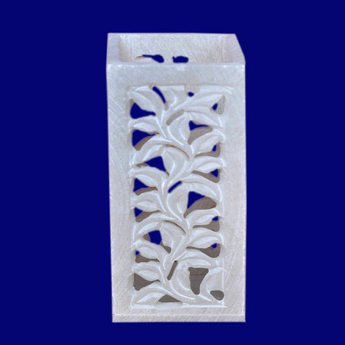 Jagdamba Marble Handicraft N / A Soapstone Carving Work Pen Stand, Capacity: N / A