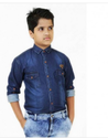 Plus Size Dark Denim Shirt For Boys