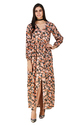 Rayon Full Sleeves Floral Slit Western Maxi Dress
