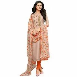 Rajnandini Light Peach Chanderi Silk Embroidered Semi-Stitched Dress Material With Printed Dupatta