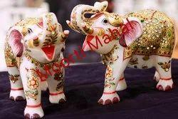 Golden Elephant Marble Figurine