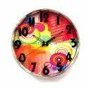 Analog Plastic Colorful Background Decorative Wall Clock