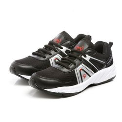 Mens Black Silver Synthetic Walking Shoes