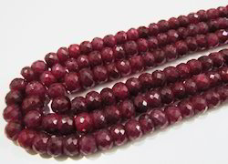 Natural Ruby Corundum Rondelle Faceted Beads
