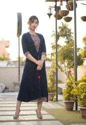 Designer Double Layered A Line Long Kurti