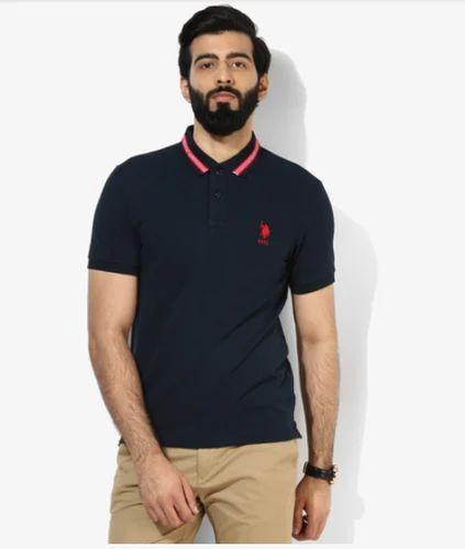 8885f421d U S Polo Assn Navy Blue Solid Regular Fit Polo T Shirt