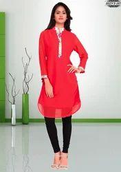 f8eeec871f5b Casual Wear Plain Red Georgette Kurti, Rs 799 /piece, Simran ...