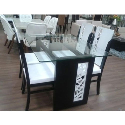 White Glass Top Dining Table Set, Black And White Dining Room Set